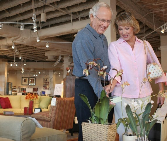 Senior couple looking at potted plants in a furniture store