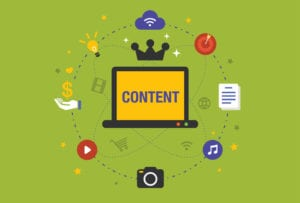 Flat design Illustration: Content is king in digital marketing