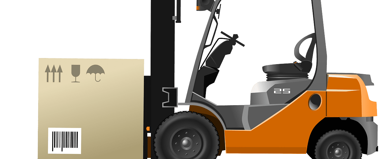 Illustration of a forklift carrying a box.