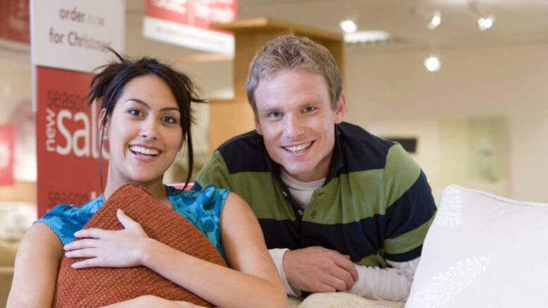 Couple at furniture store