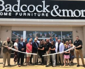 Members of Badcock's executive team showed up in Elkin, N.C., for the opening of HFA member Bill Freeman's third Badcock Furniture & more store.