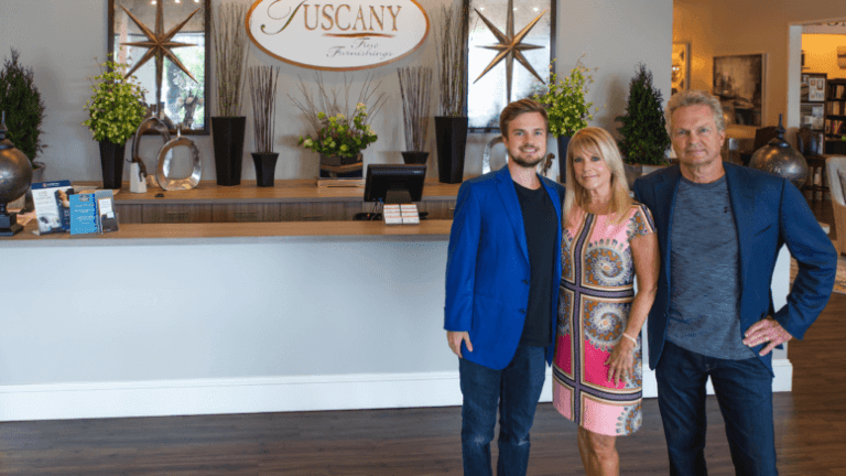 Tuscany Fine Furnishings photo shows Kameron, Kathy and Kelle McConnell in their Roswell, Ga., store.