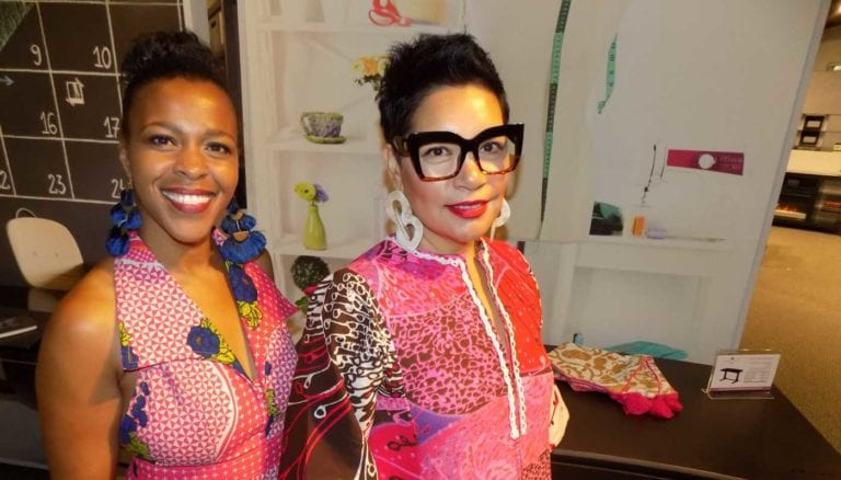 Designers Treci Smith and Rachel Moriarty in the Twin Star Home showroom at the Las Vegas Market