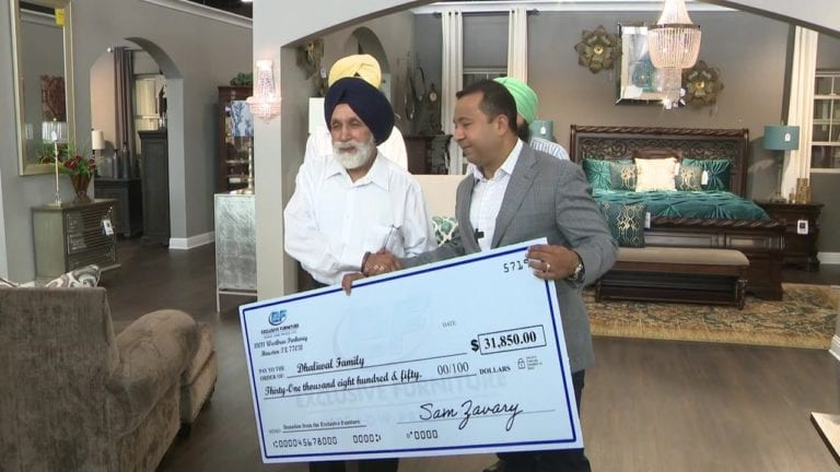 Exclusive Furniture's Sam Zavary donates more than $31,000 Deputy Sandeep Dhaliwal's father Pyara Singh Dhaliwal.