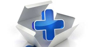 Photo of Healthcare symbol which is a blue cross.