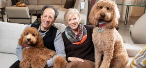 photo shows a man and woman and two dogs on a sofa