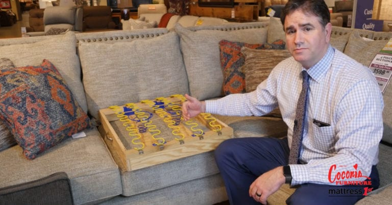 Image shows Scott Goldberg with springs used in England furniture sofas