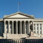 Image shows the U.S. Treasury building
