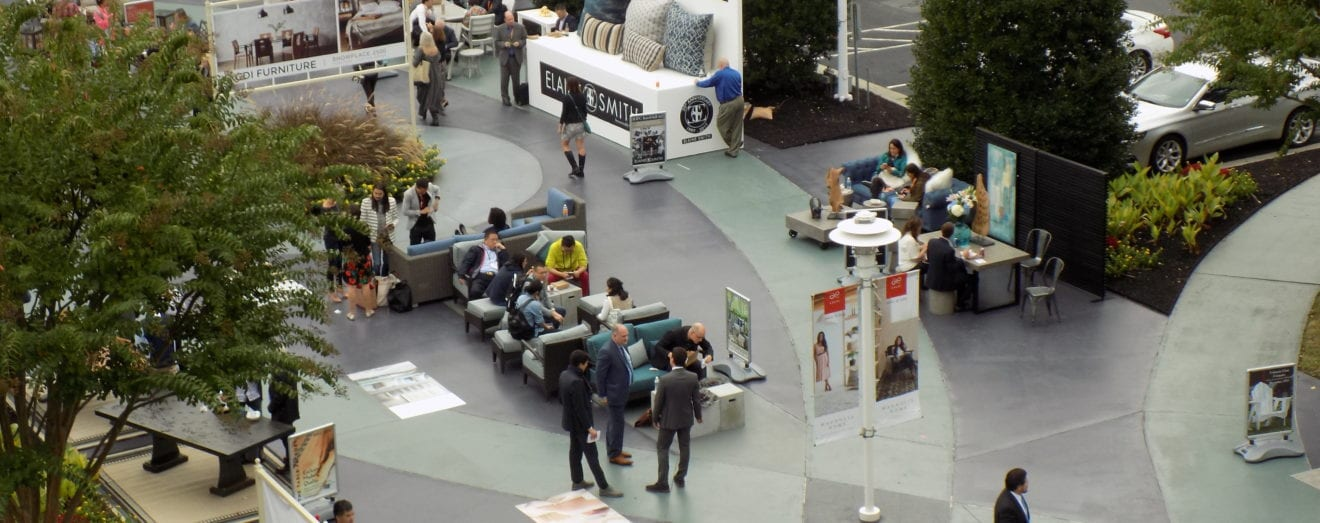 image shows a furniture market scene