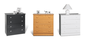 Image shows three chests of drawers