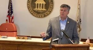 Image shows Darin LaHood speaking at a podium