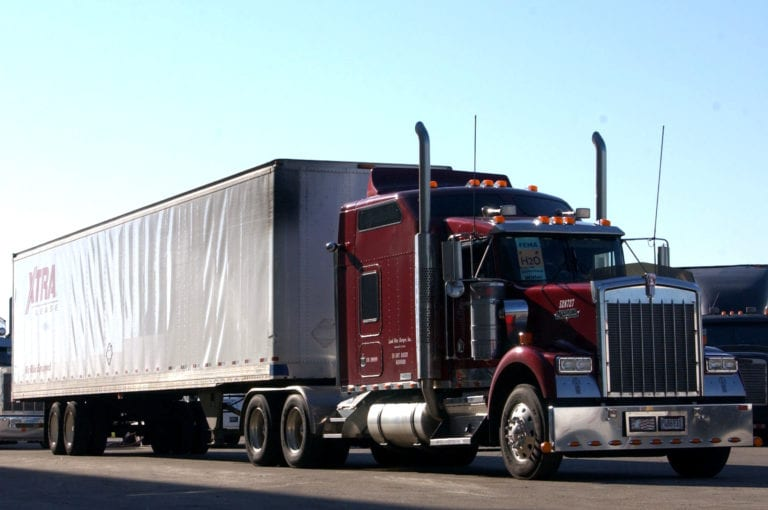image hows a track trailer truck