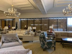 Image shows the interior of a furniture store