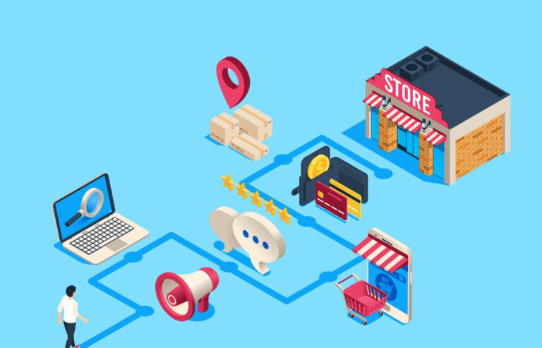 Isometric customer journey illustration
