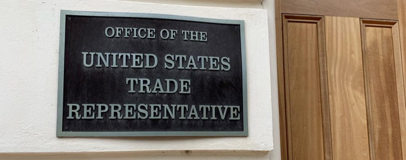 Image shows a plaque indicating Office of the United States Trade Representative