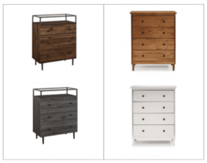 Image shows four chests of drawers