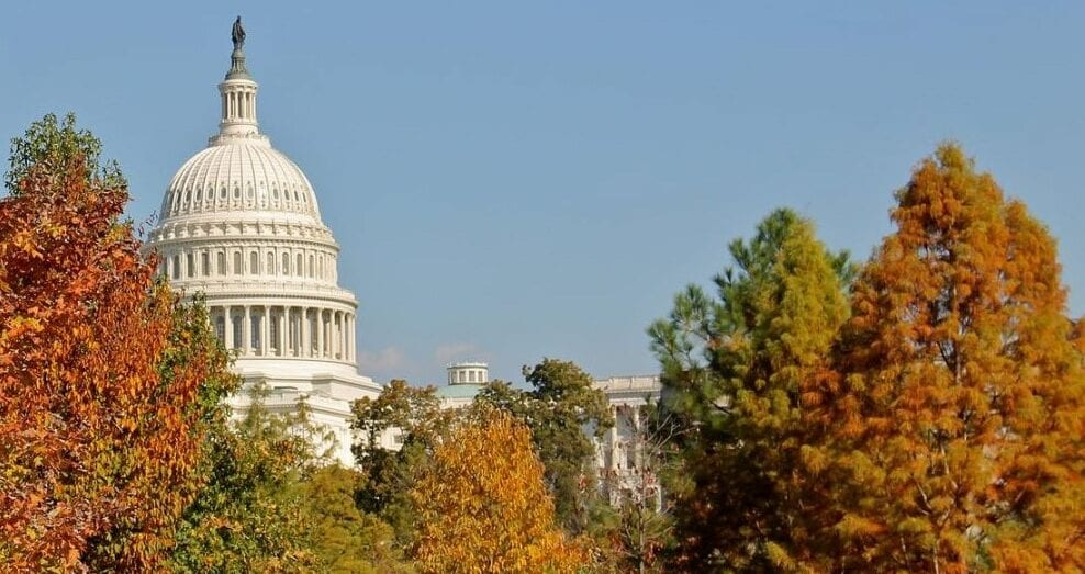 Image gives an autumn view of the U.S. Capitol