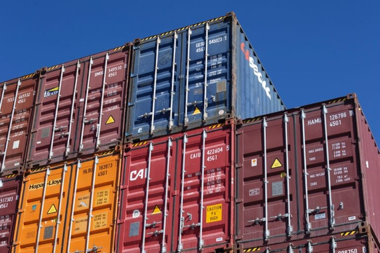 Shipping Containers stacked on each other.