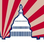 illustration of US Capitol with flag behind it